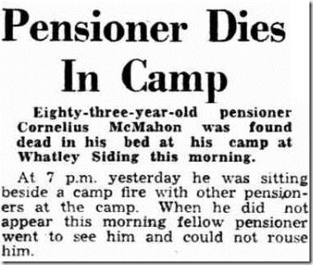 Pensioner Dies in Camp