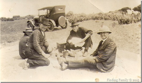 Barratt Charles (third from left) in Flinders Bay with Busselton train crew [1927] - 2