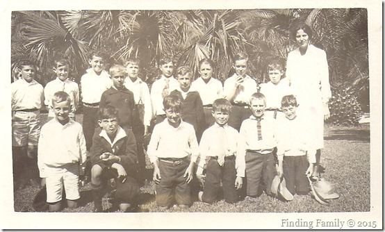Barratt Ronald (back fourth from left) with Higginson Geoff on his left - Sunday School Picnic at the Zoo with Miss Haseldine [1931]