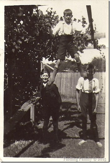 Barratt Ronald (top), Higginson Geoff (left) and unknown boy (right) at 62 Wasley Street North Perth [1930s]
