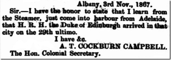 Letter from Albany